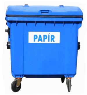 Plastový kontejner objem 1100 litrů – separovaný sběr papírových obalů